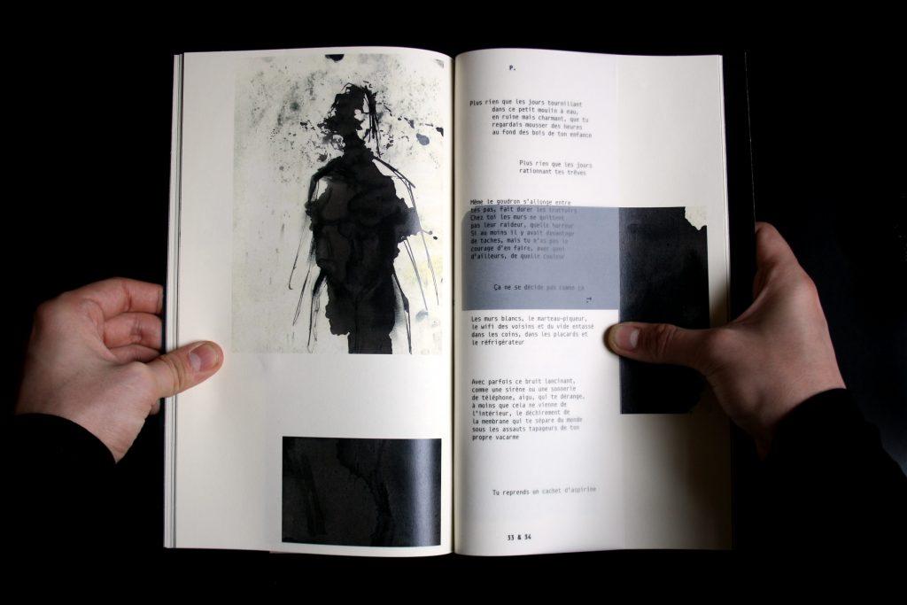 Catalogue La Souterraine : page intérieure. Marine Riguet, Emma Duffaud, Elisa Garnero, Quentin Girard, Joseph Hadacek.